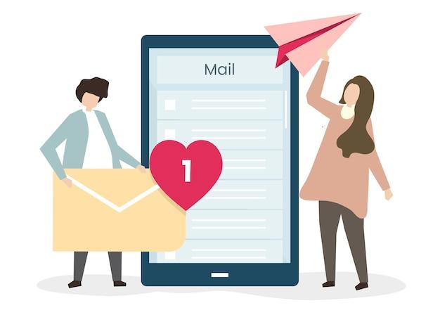 Liebende, die einander e-mails schicken