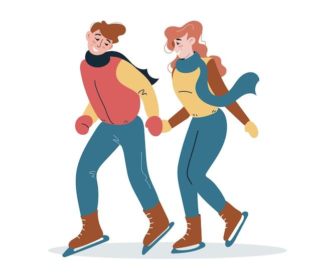Liebende und glückliche junge leute laufen schlittschuh. wintersport. niedliche bunte charaktere im flachen stil.