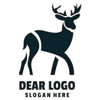 Lieber silhouette cartoon-logo-vektor