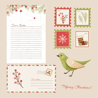 Lieber weihnachtsmann brief. postkarte mit briefmarken und markierung.