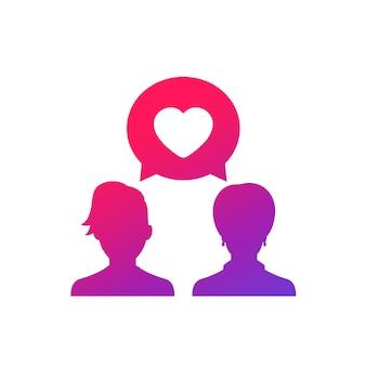 Liebes-chat-vektorsymbol mit zwei frauen