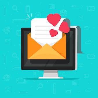 Liebes-e-mail-nachricht auf computer