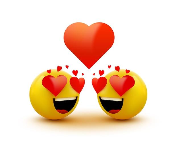 Liebes-emoticon-symbol, liebesherzen in den augen