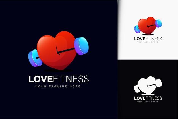 Liebes-fitness-logo-design mit farbverlauf