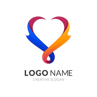 Liebes- und feuerlogokonzept, moderner logo-stil in lebendigen farbverlaufsfarben