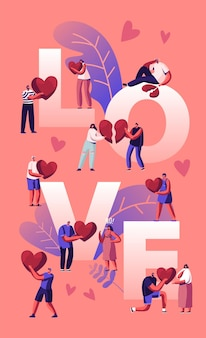 Liebes- und herzschmerzkonzept. glückliche paare sparetime, herz halten. karikatur flache illustration