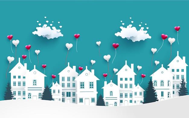 Liebesballons fliegen über die stadt