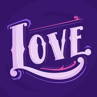 Liebesbeschriftung in der weinleseart auf purpurrotem hintergrund