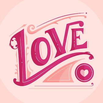 Liebesbeschriftung in der weinleseart auf rosa hintergrund