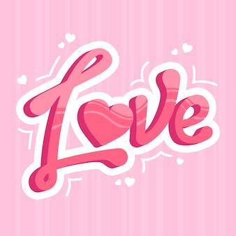 Liebesbeschriftung mit künstlerischen schatten
