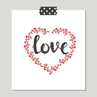 Liebesbeschriftung, niedliche grußkarte