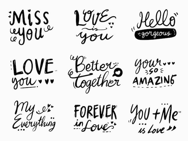 Liebesbeschriftung und typografie für hochzeits- und verlobungskarte
