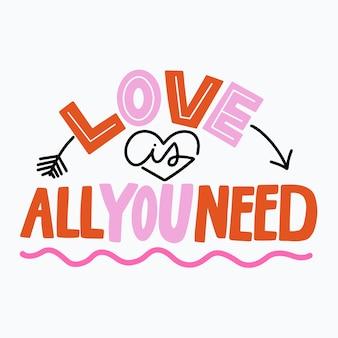 Liebesbeschriftungsnachrichtendesign