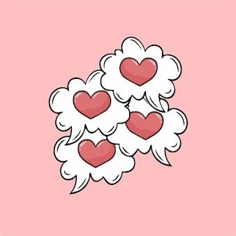 Liebesblase rede symbol social media post valentine vector illustration
