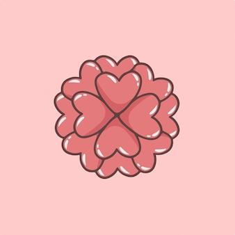 Liebesblumen auf vase-symbol-vektor-illustration