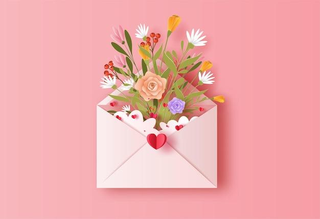 Liebesbrief mit einem blumenstrauß in papierillustration