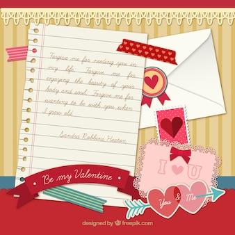 Liebesbrief mit elementen
