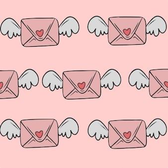 Liebesbrief mit flügel-muster-hintergrund-vektor-illustration