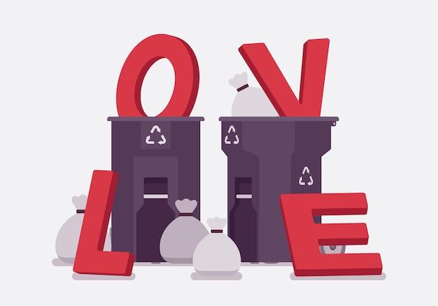 Liebesbriefe in einen mülleimer
