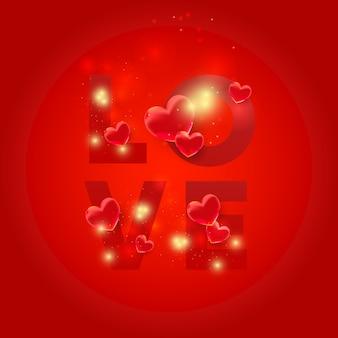 Liebesbriefe mit herzen 3d. liebesformen mit leichtem glitzer. valentinstagskarte