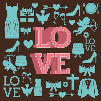 Liebesdesign über brauner hintergrundvektorillustration