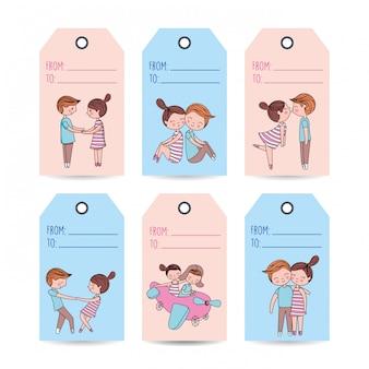 Liebesetiketten mit paaren