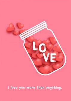 Liebesflaschenglas mit hört nach innen für valentinstagkarte.