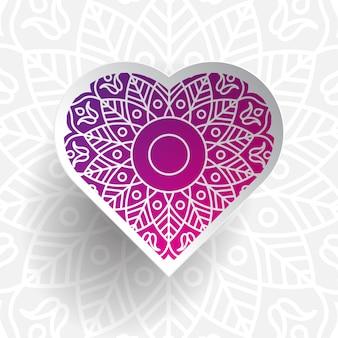 Liebesform mit ornament und papierkunststil. farbverlauf, schönheit und einzigartig.