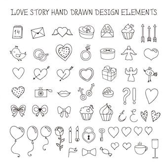Liebesgeschichte hand gezeichnete designelemente doodle set. vektor vintage illustration.
