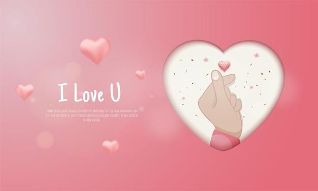 Liebesgrüße mit dem koreanischen fingersymbol ich liebe dich