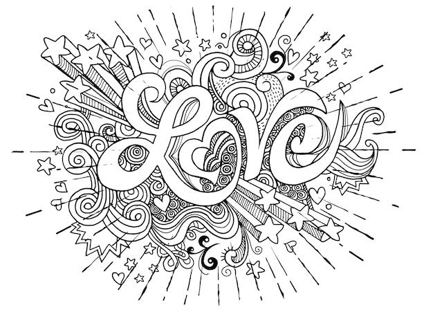 Liebeshandbeschriftung und gekritzelelemente skizzieren hintergrund