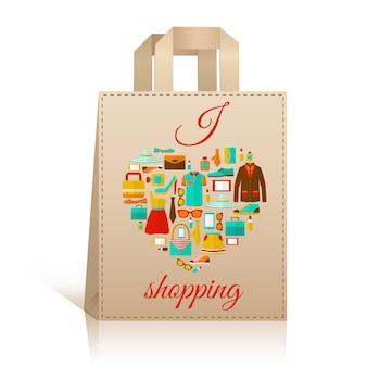 Liebesherz-einkaufstaschensymbol