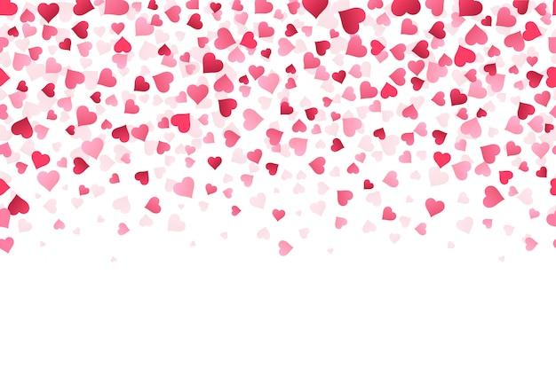 Liebesherz konfetti. hochzeitstag und valentinstag grußkartenmuster, fallende schöne rote konfettipapierform des herzillustrationshintergrunds. festliche druckbare kulisse