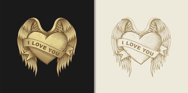 Liebesherz mit flügeln und bändern, handgezeichnete illustration mit esoterischen, boho, spirituellen, geometrischen, magischen themen, für valentinstag oder verliebte liebhaber