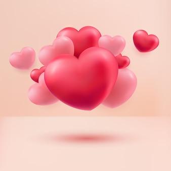 Liebesherzen rot und rosa 3d realistisch auf pastellfarbenem hintergrund