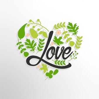 Liebeshintergrund mit grünen blättern
