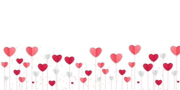 Liebeshintergrund mit herzformen. horizontales banner mit fliegenden herzen, papierschnitt handwerk.