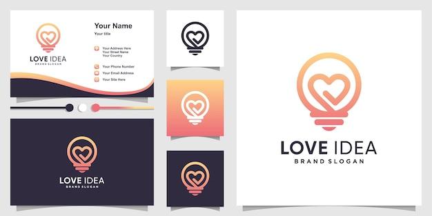 Liebesideenlogo mit kreativem farbverlaufskonturstil und visitenkartenentwurf