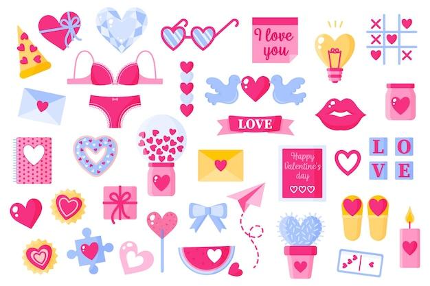 Liebesikonen für valentinstag eingestellt