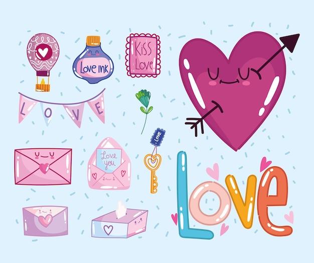 Liebesikonen gesetzt, herz umhüllt nachrichtenblume romantisch im karikaturstil