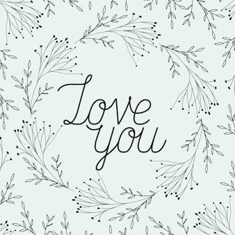 Liebeskarte mit kräutern gezeichneten rahmen