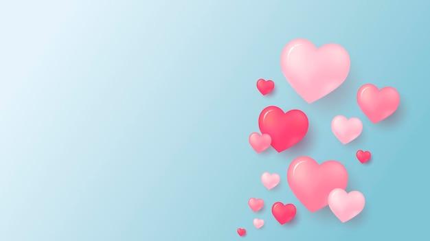Liebeskonzept und valentinstag der rosa herzen mit kopienraum