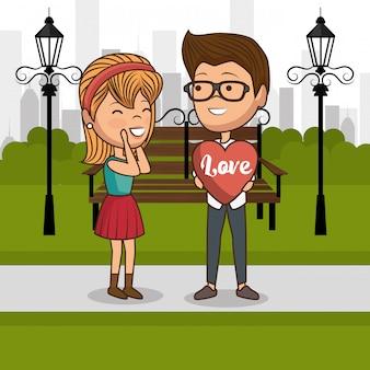 Liebespaar auf parkstuhl