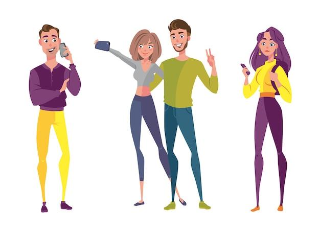 Liebespaar machen selfie-foto mit smartphone-bild. netter männlicher und weiblicher charakter beim treffen. freund-beziehungs-konzept. soziale netzwerkinhalts-flache karikatur-vektor-illustration
