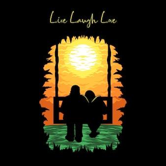 Liebespaar silhouette schaukel auf sonnenuntergang