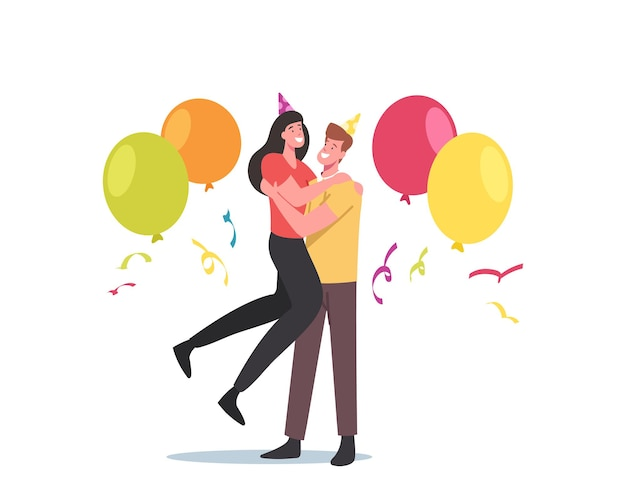 Liebespaar umarmt, männliche und weibliche charaktere in feiertagsmützen, konfetti und ballons feiern gemeinsam jubiläum. junger mann und frau party-feier. cartoon-menschen-vektor-illustration