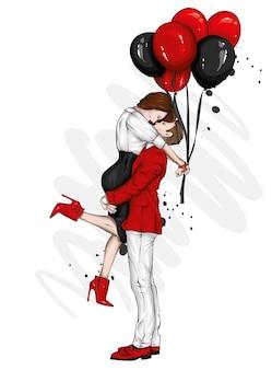 Liebespaar und luftballons