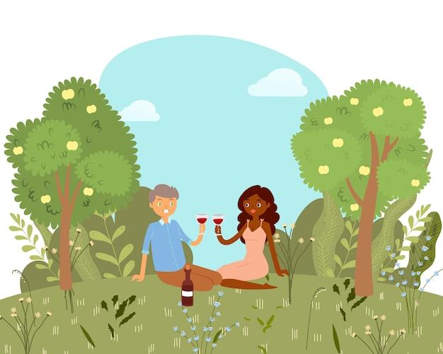 Liebespicknick für glückliches paar mit wein im park, natur im freien, romantische datumskarikaturillustration. valentinstagskarte.