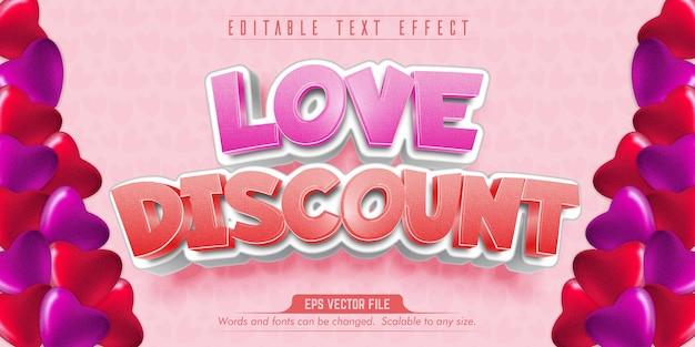 Liebesrabatttext, bearbeitbarer texteffekt im liebesstil