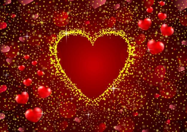 Liebesrahmenhintergrund mit goldenen funkeln